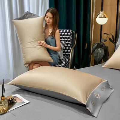 2021新款艾迪&卡夫-单枕套 枕套48*74 卡夫-香槟+绅士灰