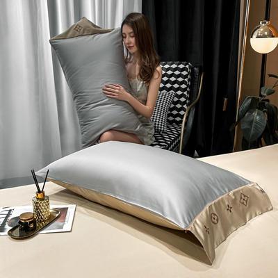 2021新款艾迪&卡夫-单枕套 枕套48*74 卡夫-银灰+香槟