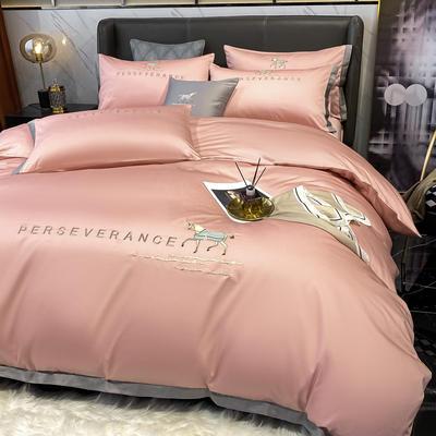 2021新品-高档全棉贡缎长绒棉刺绣-吉米系列 1.2m床单款三件套 吉米-豆沙