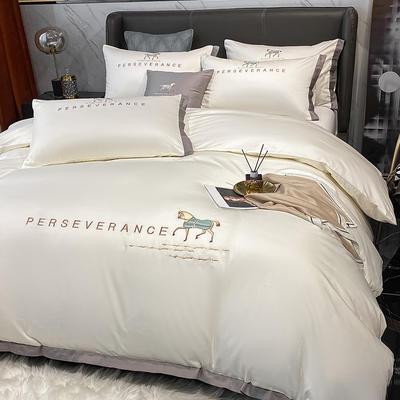 2021新品-高档全棉贡缎长绒棉刺绣-吉米系列 1.2m床单款三件套 吉米-峰白