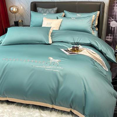 2021新品-高档全棉贡缎长绒棉刺绣-吉米系列 1.2m床单款三件套 吉米-浅石蓝