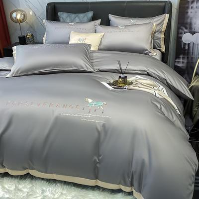 2021新品-高档全棉贡缎长绒棉刺绣-吉米系列 1.5m床单款四件套 吉米-绅士灰
