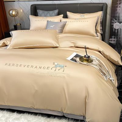 2021新品-高档全棉贡缎长绒棉刺绣-吉米系列 1.2m床单款三件套 吉米-香槟