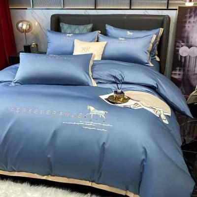 2021新品-高档全棉贡缎长绒棉刺绣-吉米系列 1.5m床单款四件套 吉米-宾利蓝