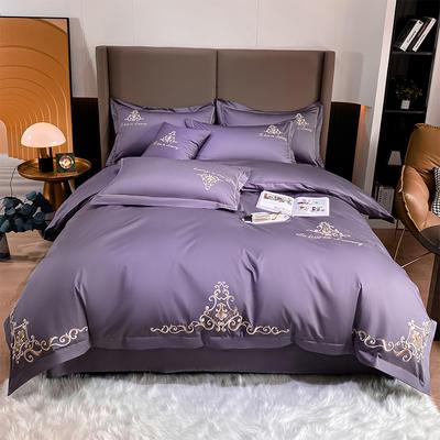 2021新品-140S新疆长绒棉绣花四件套-威特系列 1.5m床单款四件套 威特-千黛紫