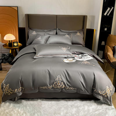 2021新品-140S新疆长绒棉绣花四件套-威特系列 1.5m床单款四件套 威特-绅士灰