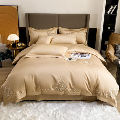 2021新品-140S新疆长绒棉绣花四件套-威特系列 1.5m床单款四件套 威特-香槟金