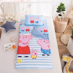 大黄蜂   2018新品大版儿童睡袋纯棉加绒款-条纹佩奇 80X150cm2.5斤棉花内胆()