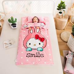 大黄蜂   2018新品大版儿童睡袋纯棉加绒款-微笑猫咪 80X120cm(1斤棉花内胆)
