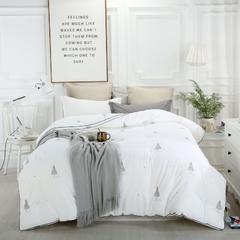 全棉磨毛生态保暖绒被 200X230cm 棵棵树白