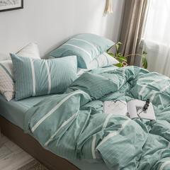 简约素色32支色织水洗棉无印条纹纯棉四件套-【素岩】--6色(尺寸齐全:小号 标准 加大) 1.2m(4英尺)床 碧纱