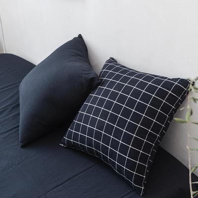 全棉色织水洗棉单品抱枕套 45x45cm/对 藏青方格