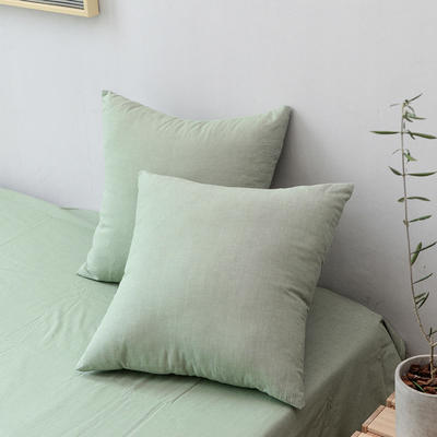 全棉色织水洗棉单品抱枕套 45x45cm/对 草绿色