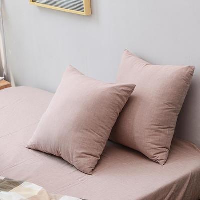 全棉色织水洗棉单品抱枕套 45x45cm/对 豆沙色