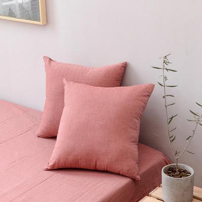 全棉色织水洗棉单品抱枕套 45x45cm/对 红棕色