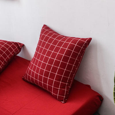 全棉色织水洗棉单品抱枕套 45x45cm/对 酒红方格