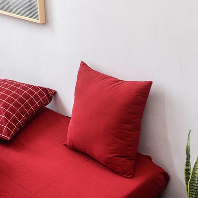 全棉色织水洗棉单品抱枕套 45x45cm/对 酒红色