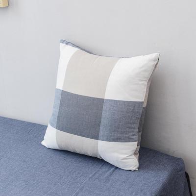 全棉色织水洗棉单品抱枕套 45x45cm/个 蓝大格