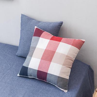 全棉色织水洗棉单品抱枕套 45x45cm/对 蓝红中格