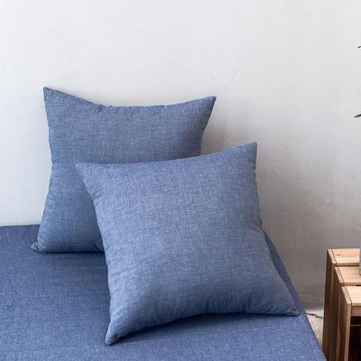 全棉色织水洗棉单品抱枕套 45x45cm/对 牛仔蓝