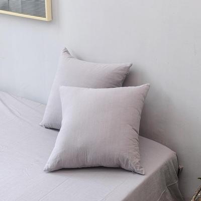 全棉色织水洗棉单品抱枕套 45x45cm/对 浅灰色