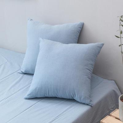 全棉色织水洗棉单品抱枕套 45x45cm/对 浅水蓝