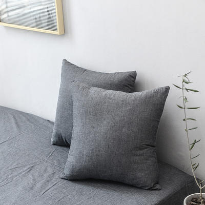全棉色织水洗棉单品抱枕套 45x45cm/对 深灰色