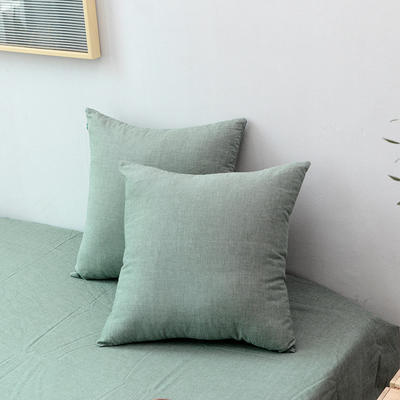 全棉色织水洗棉单品抱枕套 45x45cm/个 一抹绿