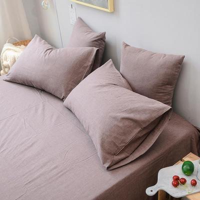 全棉色织水洗棉单枕套 48cmX74cm 豆沙咖/一只