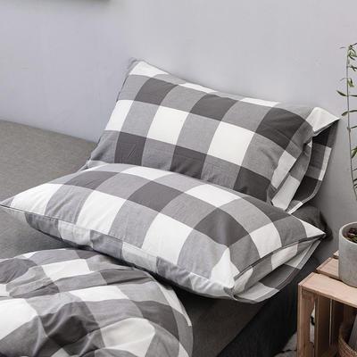 全棉色织水洗棉单枕套 48cmX74cm 灰白中格/一只