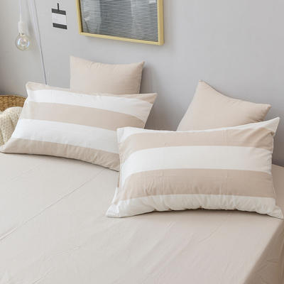全棉色织水洗棉单枕套 48cmX74cm 咖白条/一只