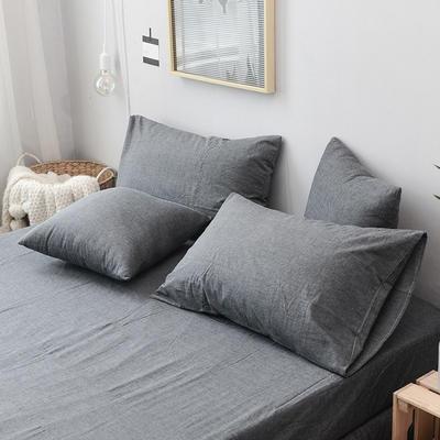 全棉色织水洗棉单枕套 48cmX74cm 深灰色/一只
