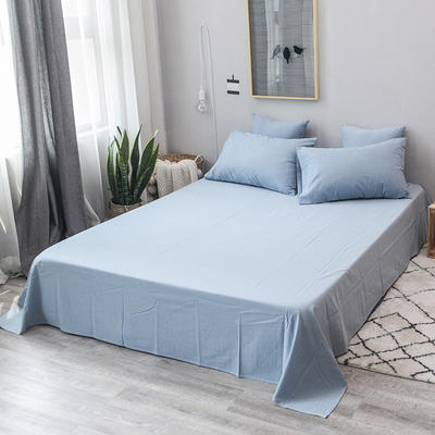 全棉色织水洗棉单品床单 160*240(单床单款) 浅水蓝