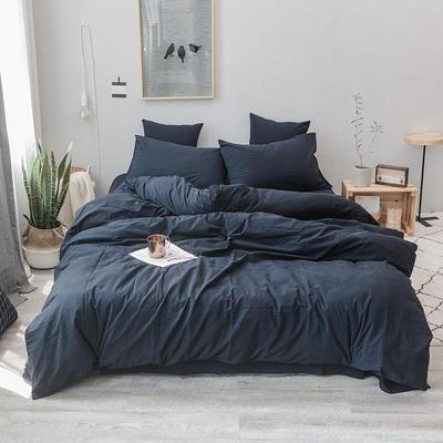 柠萌家居 全棉色织水洗棉对多规格四件套无印良品风四件套 1.2m(4英尺)床单款(三件套) 藏青色
