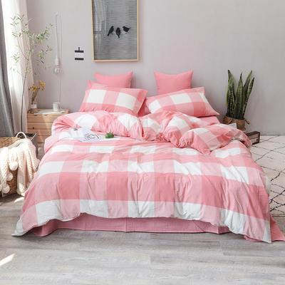 柠萌家居 全棉色织水洗棉对多规格四件套无印良品风四件套 1.2m(4英尺)床笠款(三件套) 粉红大格