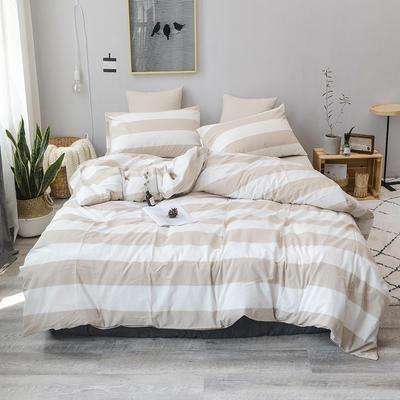 柠萌家居 全棉色织水洗棉对多规格四件套无印良品风四件套 1.2m(4英尺)床笠款(三件套) 咖白条