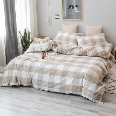 柠萌家居 全棉色织水洗棉对多规格四件套无印良品风四件套 1.2m(4英尺)床笠款(三件套) 咖白中格