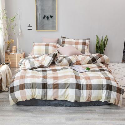 柠萌家居 全棉色织水洗棉对多规格四件套无印良品风四件套 1.2m(4英尺)床笠款(三件套) 咖灰中格