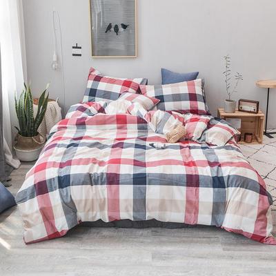 柠萌家居 全棉色织水洗棉对多规格四件套无印良品风四件套 1.2m(4英尺)床笠款(三件套) 蓝红中格