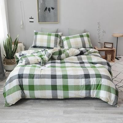 柠萌家居 全棉色织水洗棉对多规格四件套无印良品风四件套 1.2m(4英尺)床笠款(三件套) 绿中格