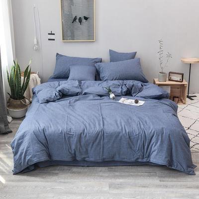 柠萌家居 全棉色织水洗棉对多规格四件套无印良品风四件套 1.2m(4英尺)床笠款(三件套) 牛仔蓝