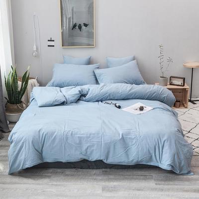 柠萌家居 全棉色织水洗棉对多规格四件套无印良品风四件套 1.2m(4英尺)床笠款(三件套) 浅水蓝