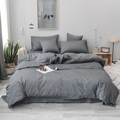 柠萌家居 全棉色织水洗棉对多规格四件套无印良品风四件套 1.2m(4英尺)床笠款(三件套) 深灰色