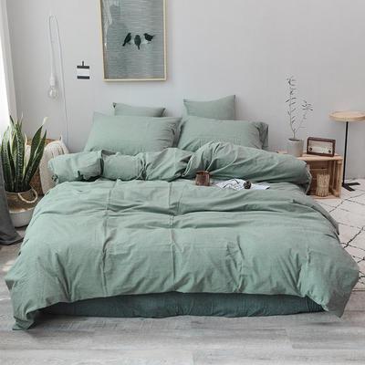 柠萌家居 全棉色织水洗棉对多规格四件套无印良品风四件套 1.2m(4英尺)床笠款(三件套) 一抹绿