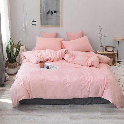 柠萌家居 全棉色织水洗棉对多规格四件套无印良品风四件套 1.2m(4英尺)床笠款(三件套) 玉色