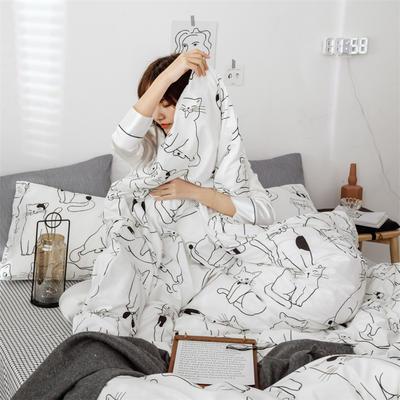2019新款全棉INS简约小清新青春系列全棉四件套 1.2m床(床单款) 傲娇小萌宠