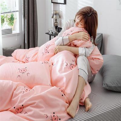 2019新款全棉INS简约小清新青春系列全棉四件套 1.2m床(床单款) 萌小猪