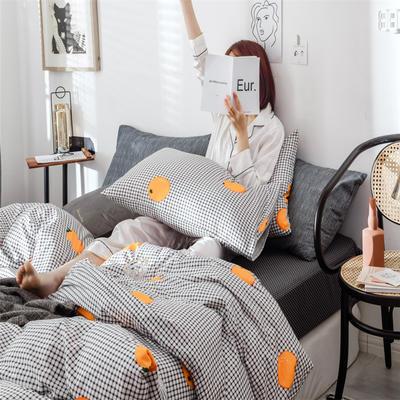 2019新款全棉INS简约小清新青春系列全棉四件套 1.2m床(床单款) 清新橙