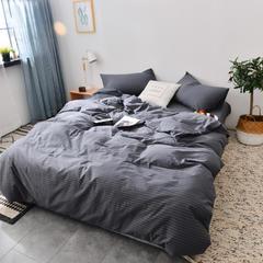 2019新款水洗棉单被套全棉色织无印良品同步新款花色 150x200cm 细条纹-黑灰色