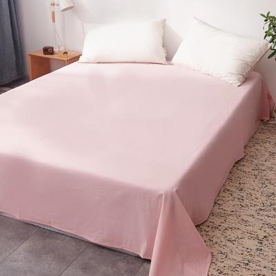 2019新款水洗棉单床单全棉色织无印良品同步新款花色 160cmx240cm 粉白细条